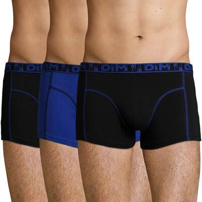 Lot de 3 boxers coton stretch Noir et Bleu Outremer Ecodim Mode, , DIM