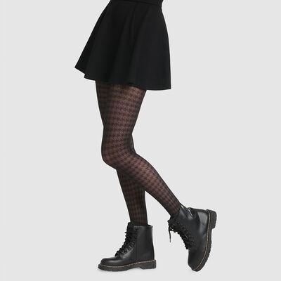 Collant fantaisie imprimé pied-de-poule noir Dim Style 42D, , DIM