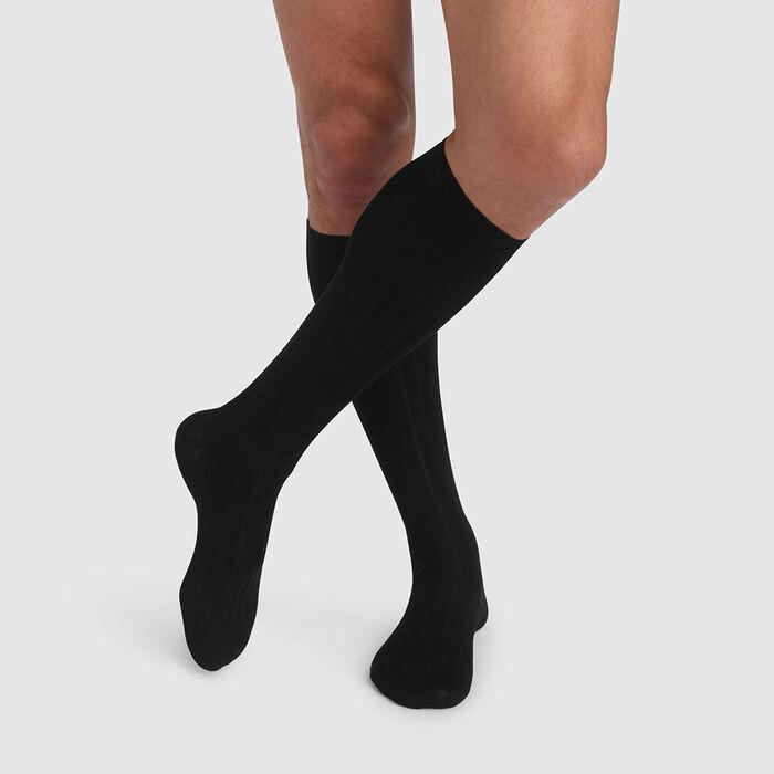 Chaussette haute homme noir en coton mercerisé fil d'Écosse, , DIM