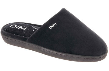 Chaussons type pantoufles noirs intérieur à pois Femme, , DIM