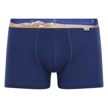 Boxer Bleu Eclipse en coton stretch à la Ceinture Illustrée, , DIM
