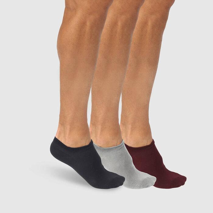 Lot de 3 paires de socquettes hommes bleu bordeaux gris Basic Coton, , DIM