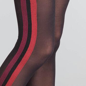 Collant fantaisie sporty look noir et rouge 40D - Dim Style, , DIM
