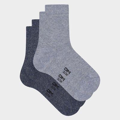 Lot de 2 paires de chaussettes enfant coton lurex denim Coton Style, , DIM