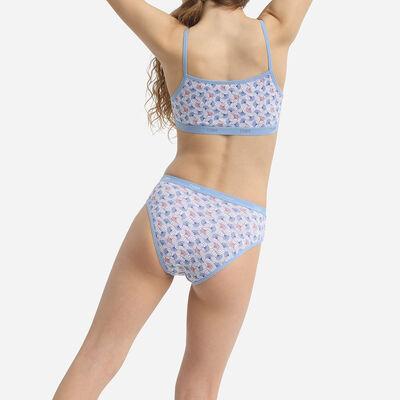 Lot de 5 culottes fille en coton stretch imprimé wax Bleu Les Pockets, , DIM