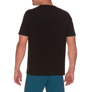 T-shirt de pyjama manches courtes noir poche bleue Homme-DIM