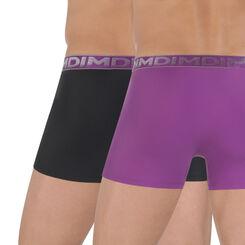 Lot de 2 boxers noir et violet microfibre Chrome-DIM