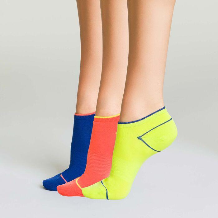 Lot 3 paires socquettes de sport pour femme Corail Fluo et Bleu Indigo, , DIM