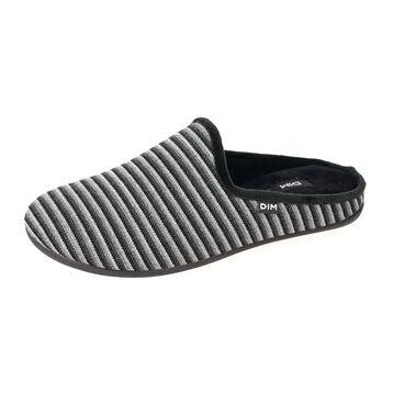 Chaussons pantoufles noirs à rayures Homme-DIM
