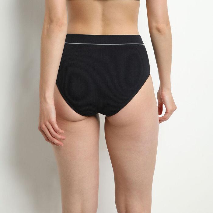 Culotte taille haute en maille côtelée Noir Dim Original Retro, , DIM