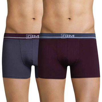 Lot de 2 boxers violet et bleu orage Soft Touch Classique-DIM