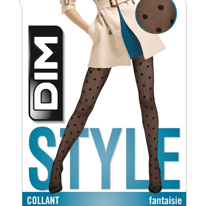 Collant plumetis noir à gros pois 20D DIM Style, , DIM