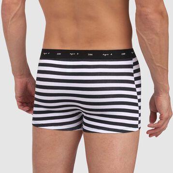 Boxer blanc en coton stretch imprimé rayures noires Agnes B, , DIM