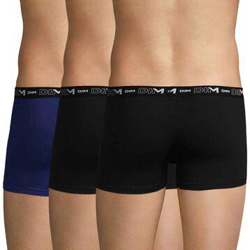 Lot de 3 boxers noirs et bleu indigo DIM Coton Stretch-DIM