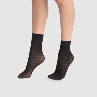 Socquettes fantaisie imprimé pied de poule noires Dim Style 29D, , DIM