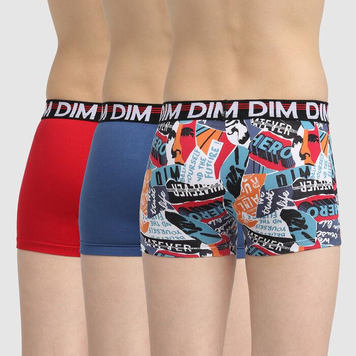 Lot de 3 boxers garçon coton stretch motif Hero Noir Eco Dim 3D , , DIM