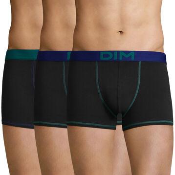 Lot de 3 boxers Noir-Bleu Indigo et Noir-Bleu Turquoise Mix and Colors, , DIM