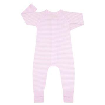 Pyjama bébé fille zippé Rayé Rose layette et blanc DIM Baby, , DIM