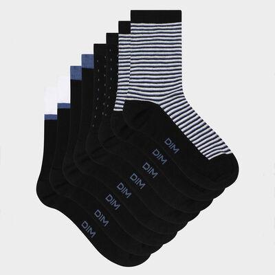 Lot de 4 paires de chaussettes femme rayures pois Noir EcoDim Style, , DIM