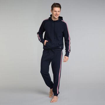 Pantalon pyjama bleu marine à détail bandes - Mix and Match, , DIM