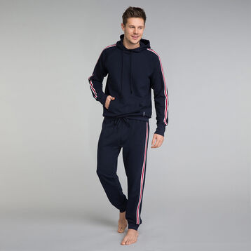 Pantalon pyjama bleu marine à détail bandes - Mix and Match, , DIM