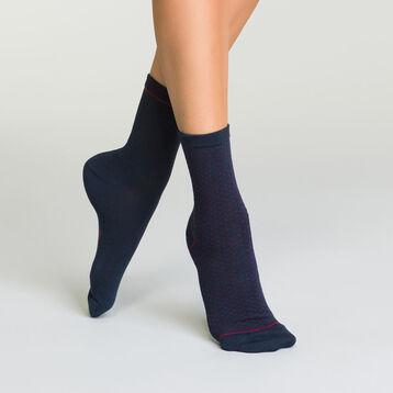 Lot de 2 paires mi-chaussettes pour femme Bleu et Bordeaux à plumetis, , DIM