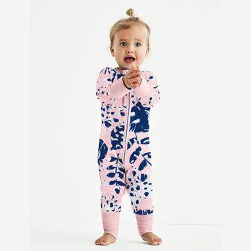 Pyjama bébé fille zippé Imprimé Tropical rose DIM Baby, , DIM