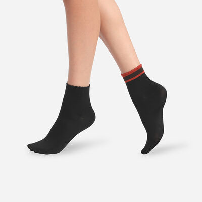 Lot de 2 paires de chaussettes femme à bord rayé Noir Dim Skin, , DIM