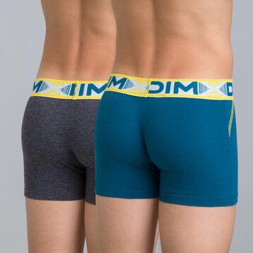 Lot de 2 boxers gris chiné foncé et bleu 3D Flex Air Boy-DIM