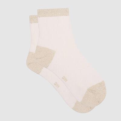 Socquette femme en coton peigné et lurex doré Ivoire Coton Style, , DIM