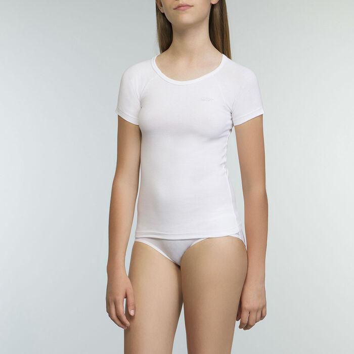 Tee-shirt blanc pour fille manches courtes en coton stretch Dim Sport, , DIM