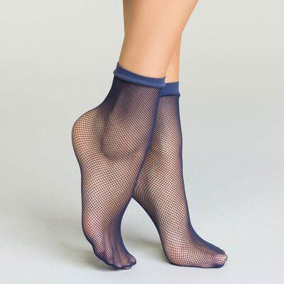 Socquettes bleu marine en résille pour femme Style, , DIM