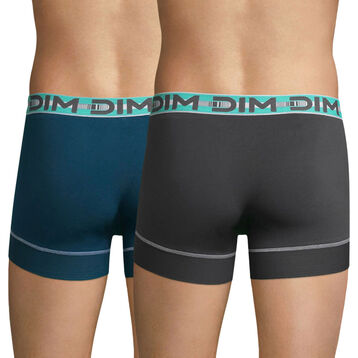 Lot de 2 boxers gris plomb et bleu pétrole 3D Stay and Fit, , DIM