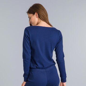 Tee-shirt manches longues bleu matelot Essential-DIM