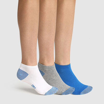 Lot de 3 paires de socquettes enfant mix and match Bleu Coton Style, , DIM