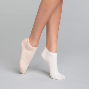 2 paires de socquettes courtes femme blanches & roses- Dim Basic Coton, , DIM