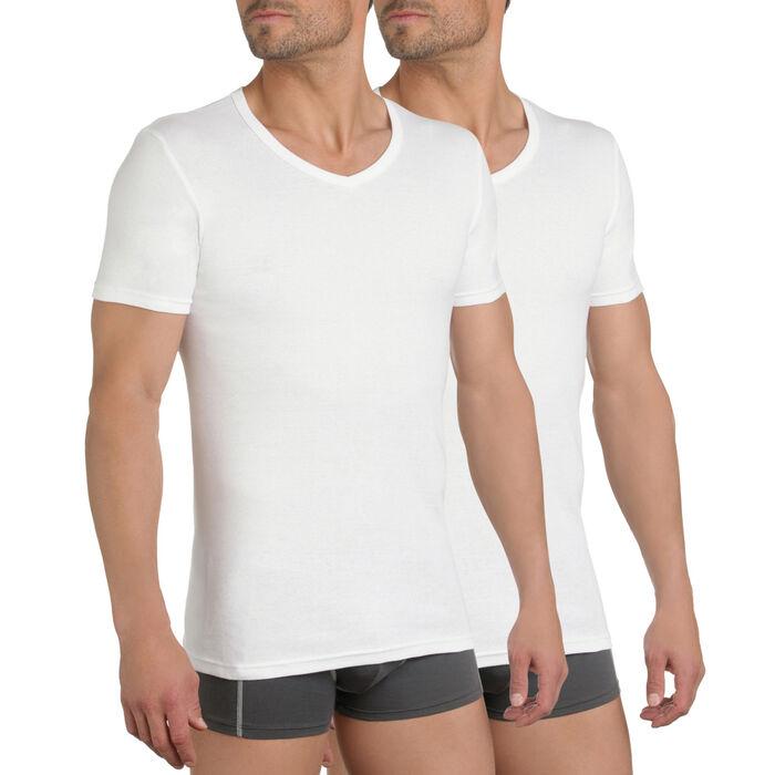 Lot de 2 t-shirts blancs col V 100% coton EcoDIM, , DIM