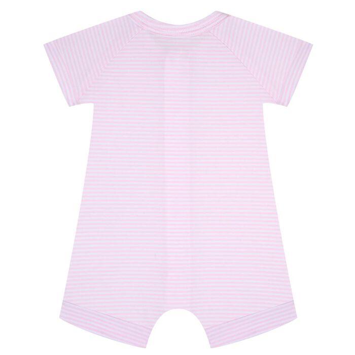 Barboteuse bébé zippée Rayé Rose layette et blanc DIM Baby, , DIM