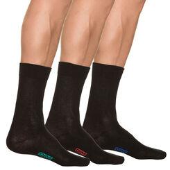 Lot de 3 paires de chaussettes noires Homme en Coton, , DIM