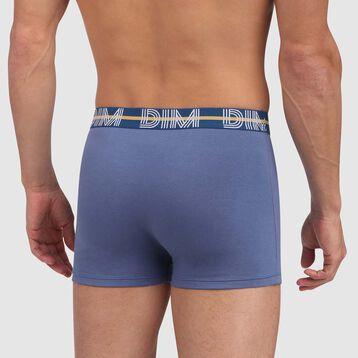 Boxer bleu jacinthe en coton stretch à la ceinture verte Dim Powerful, , DIM