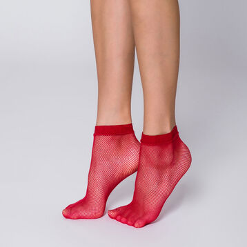 Socquettes résille rouge chili Style, , DIM