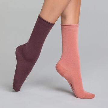 Lot de 2 chaussettes Femme coloris vieux rose et violine - Modal , , DIM