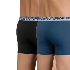 Lot de 2 boxers bleu et noir en microfibre Soft Touch, , DIM