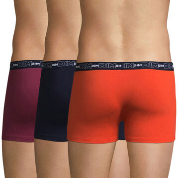 Lot de 3 boxers rouges et bleu Coton Stretch-DIM