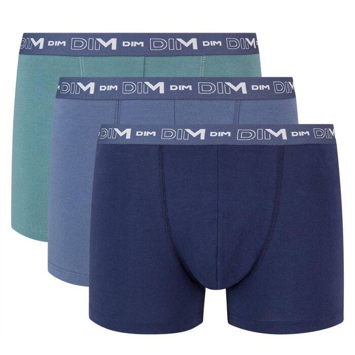 Lot de 3 boxers bleu denim bleu orage vert palme Coton Stretch, , DIM