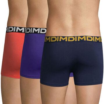 Lot de 3 boxers MIX AND FUN violet, corail et bleu-DIM