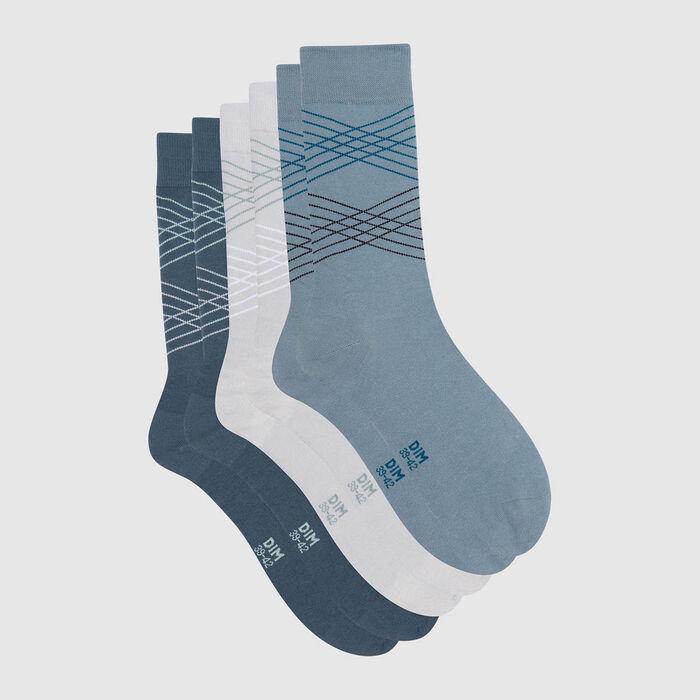 Lot de 3 paires de chaussettes hommes tartan gris bleu Coton Style, , DIM
