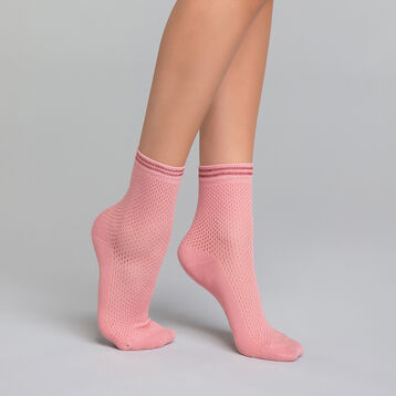Socquettes coton Style effet maillage rose - Dim Coton Style, , DIM