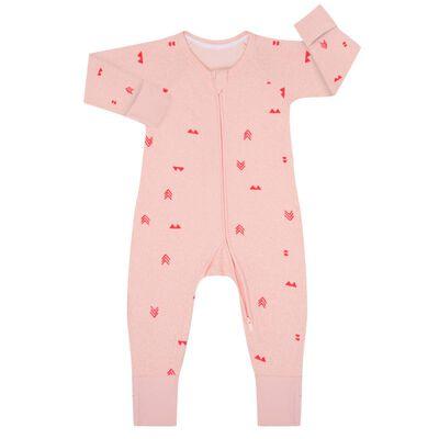 Pyjama bébé zippé bouclettes imprimé Indien rose DIM Baby, , DIM