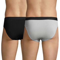 Lot de 2 slips noir et gris EcoDIM en coton stretch-DIM